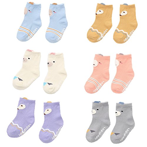 Baby Toddler Boys Girls Crew Socks, Kids Anti Slip Cartoon Animal 6 Pairs Cotton Stockings (2-4 Years)