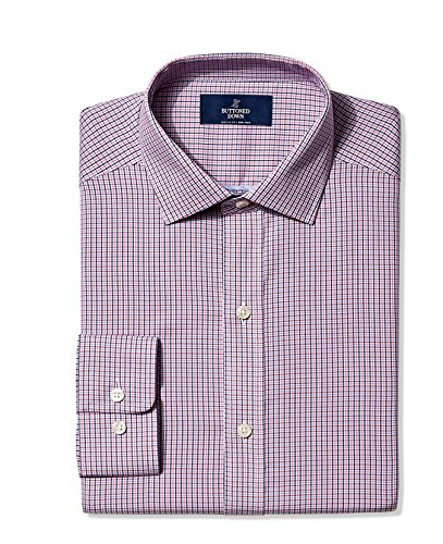 Buttoned Down Men's Non-Iron Classic-Fit Spread-Collar Dress Shirt, Berry/Red/Navy Small Tattersall, 17