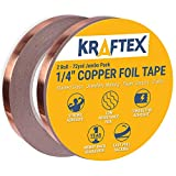 Arts & Crafts : Copper Foil Tape [2 HUGE ROLLS] (1/4inch X 36yd each) 72 Yard Pack with Conductive Adhesive - Stained Glass, Soldering, Electrical Repair, Grounding, EMI Shielding - Extra Value Pack- Thicker Foil
