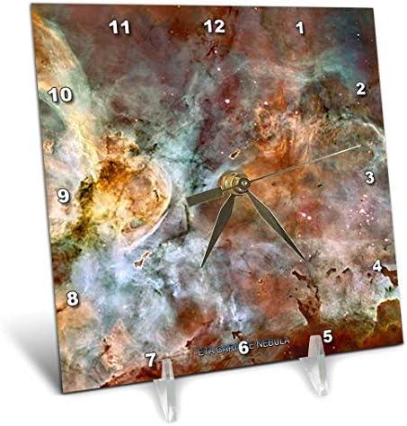 3dRose dc_76816_1 Galaxy Nebula ETA Carinae Nebula by NASA Hubble Telescope Desk Clock, 6 by 6