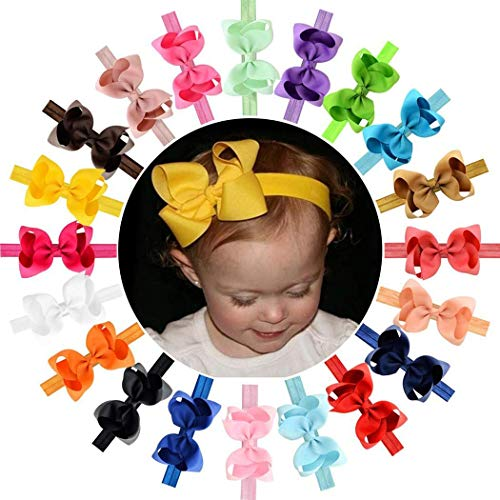 Hello22 10Pcs Colors 4.5 inches Grosgrain Ribbon Baby Girls Hair Bows Headbands for Infants Newborn and Toddlers ()