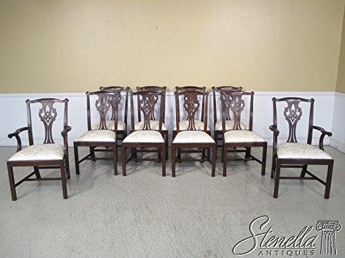 Photo Set Of 10 Henkel Harris Model #102 Chippendale Mahogany Dining Chairs ~ NEW