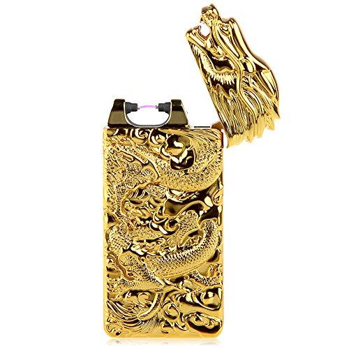 USB Rechargeable Lighter Electronic Plasma Pulse Cigar Lighter Windproof Arc Flameless Arc Cigarette Lighter Dragon Embossed Pattern (Dragon-Gold)