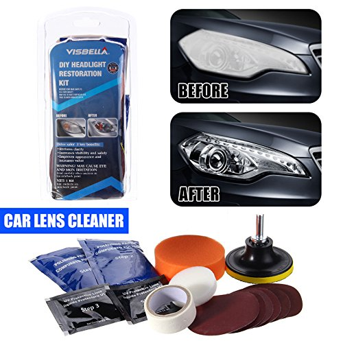 DIY Headlight Restoration Kit,Headlight Lamp Lens Cleaning Tools for Auto Car Motorcycle