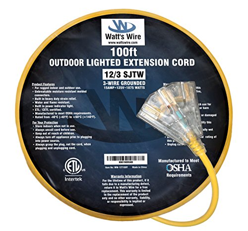 100-ft 12/3 Heavy Duty 3-Outlet Lighted SJTW Indoor/Outdoor Extension Cord by Watt's Wire - Long Yellow 100' 12-Gauge Grounded 15-Amp Three-Prong Power-Cord (100 foot 12-Awg) by Watt's Wire (Image #2)