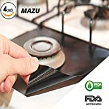 MAZU 4 Pack Reusable Gas Range Protectors - Heat Resistant Fiberglass Mat with Adjustable Size - 100% FDA Approved   Non-Stick & Easy to Clean - Kitchen Friendly Cooking Accessory