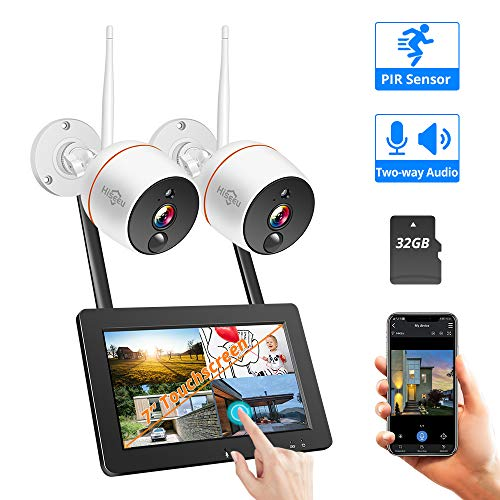 【2019 Update】 Wireless Security Camera System with Monitor,Hiseeu 4CH 7inch  Touch Screen NVR 2Pcs 1080P Two-Way Audio IP Camera, PIR Motion