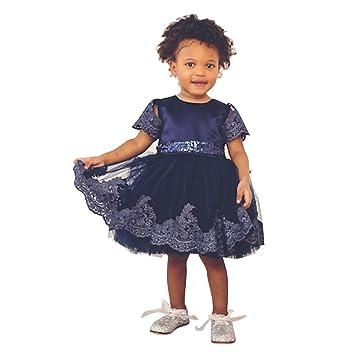 Blau Kleinkinder Baby Mädchen Kleider hibote Taufkleid Spitze ...