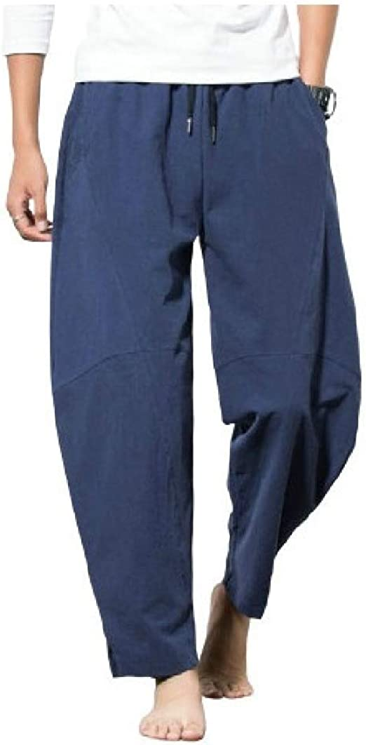 VITryst Men Mid Waist Chinese Style Fitted Solid Pocket Oversize Sports Pants