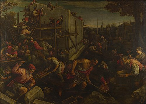 Costume Students Towers Twin (The Polyster Canvas Of Oil Painting 'Leandro Bassano The Tower Of Babel ' ,size: 24 X 33 Inch / 61 X 85 Cm ,this Best Price Art Decorative Canvas Prints)