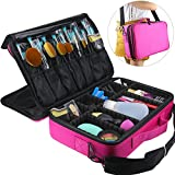 Travelmall Professional Makeup Train Case Cosmetic organizer Make Up Artist Box 3 layer Large size with Adjustable Shoulder for Makeup Brush set Hair style nail beauty tool 16.54