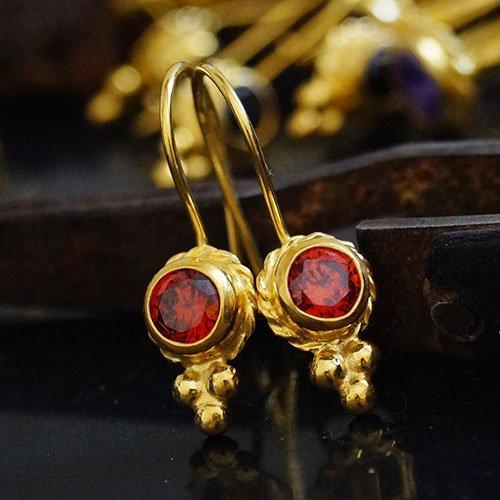 Drop Granulated (Handmade Roman Granulated Garnet Hook Earrings By Omer 24k Gold over 925 Sillver)