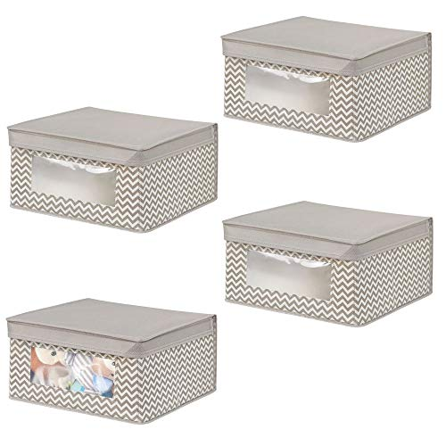 mDesign Soft Stackable Fabric Closet Storage Organizer Holder Box - Clear Window, Attached Lid, for Child/Kids Room, Nursery - Chevron Zig-Zag Print - Small, 4 Pack - Taupe/Natural