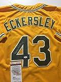Autographed/Signed Dennis Eckersley Oakland Yellow Baseball Jersey JSA COA