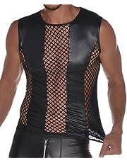 Latexachtige herentop - shirt 0/0 mouw met visnet inzetstukken