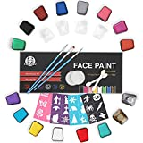LENBEST Updated Face Painting Kits for Kids - 14 Colour Mega Size Palette 3 Brushes 2 Sponges 2 Eyeshadow Sticks 2 Glitters 24 Stencils - Professional Face Paint Set for Children - Water Based No Toxic