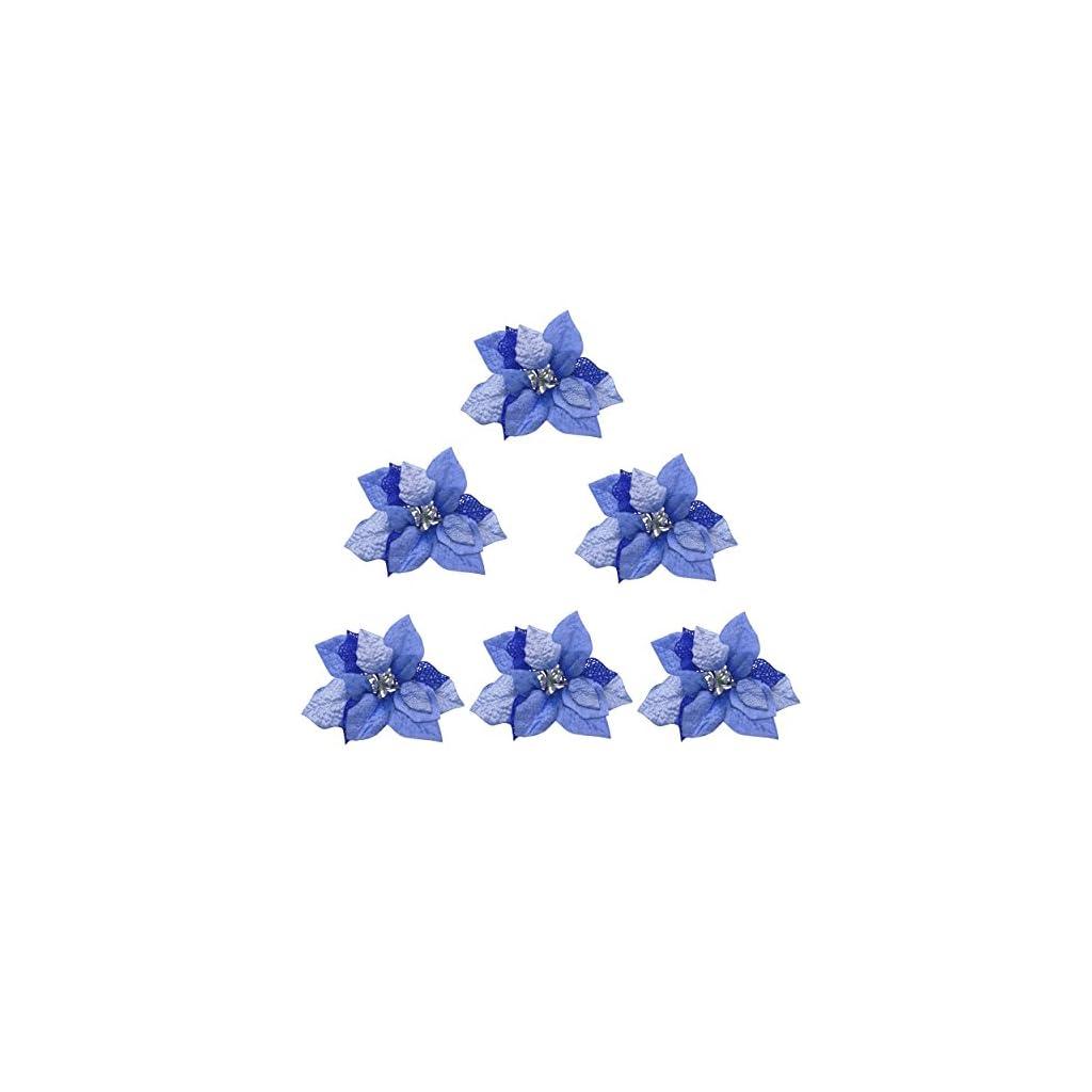 M2cbridge-Pack-of-6-Glitter-Artificial-Wedding-Christmas-Flowers-Red-Glitter-Poinsettia-Christmas-Tree-Ornaments-Dia-9-Inch