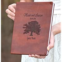Leather Engraved Oak Tree Book - Wedding Guest Book - Leather Journal - Personalized Journal - Personalized Gift - Guest Book Alternative - Personalized Leather Journal