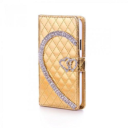 Book Style Design Handy Tasche Karo Metallic mit Visitenkartenfunktion und Strass Herzen Flip Cover Schutz Hülle Schale Klapp Etui Case Modern Bag für Apple iPhone 5 5S in Gold