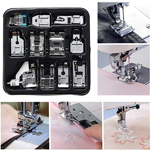 Presser Feet Set 11Pcs Snap On Sewing Machine Foot for Brother Singer Janome Babylock Kenmore Low Shank Sewing Machine Use