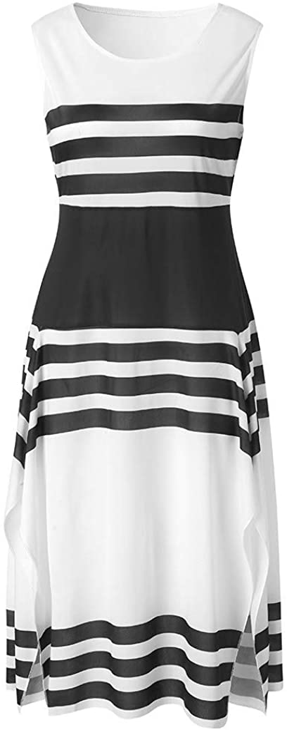 KESEELY Summer Women Casual Sleeveless Stripe T Shirts Dress Tunic Waist Dresses