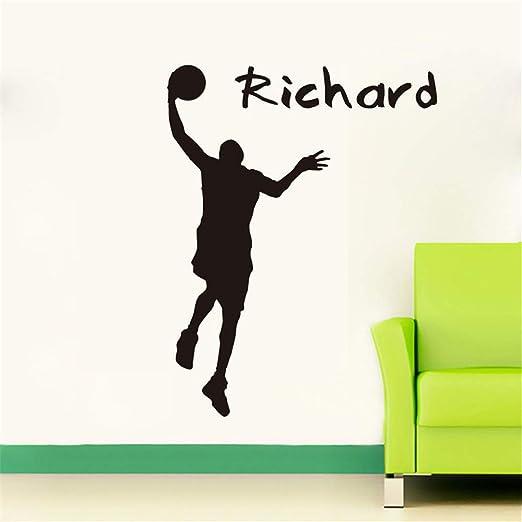 GJQFJBS Adhesivos de pared Baloncesto Jugador Silueta Adhesivos ...