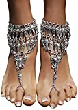 Bienvenu 1 Pair Bohemian Style for Women Barefoot Sandals Beach Wedding,Silver_3