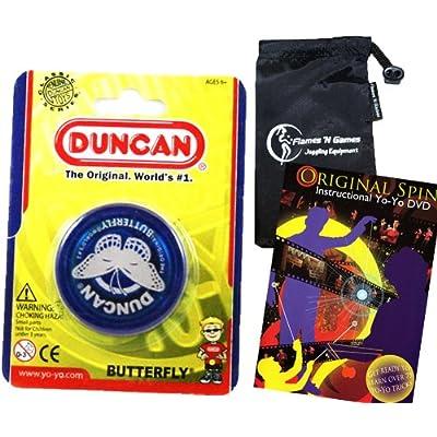 Duncan Butterfly YoYo (Blue) Beginners Entry-Level Yo Yo with Travel Bag + 75 Yo-Yo Tricks DVD! Great YoYos For Kids and Adults!: Toys & Games