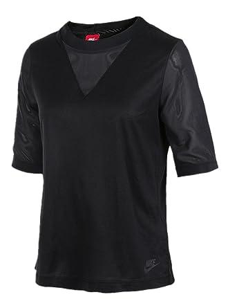 NIKE Women's Sportswear Bonded V-Neck Half-Sleeve T-Shirts 829756-010 499  at Amazon Women's Clothing store: