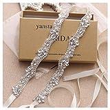 Yanstar Silver Rhinestone Crystal Pearls Wedding Bridal Belts With Ivory Ribbon Sashes For Bridal Bridesmaid Gowns