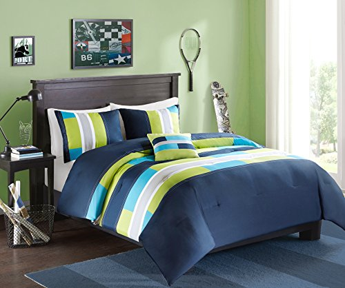 Comfort Spaces - Pierre Comforter Set - 4 Piece - Dark Blue / Navy - Multi-Color pipeline Panels - Perfect For Dormitory - Boys - Full / Queen size, includes 1 Comforter, 2 Shams, 1 Decorative Pillow (Black Sets Bedding Blue And)