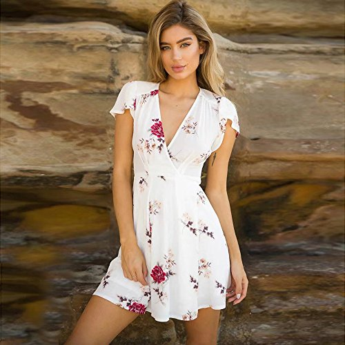 Women Mini Dress,Boho Flower Fit and Flare Sundrss Party Beach Skirt Axchongery (White 1, M) by Axchongery-Dress (Image #1)
