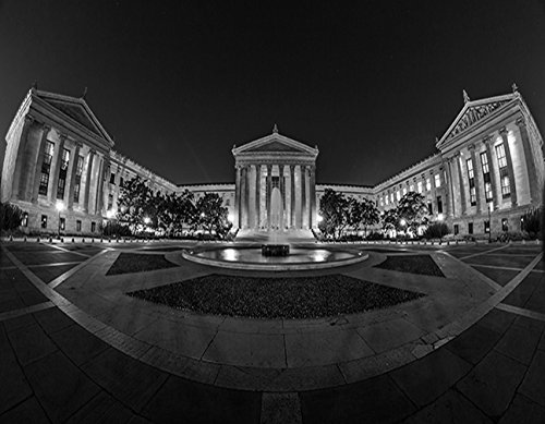 Art Museum Philadelphia on CANVAS stretched on wood Wall art Decor Made in US Photograph Original (12X14, black and white)
