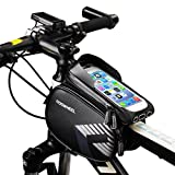 FlexDin MTB Bike Frame Bag Cycling Bicycle Head Top Tube Pannier Bags Waterproof Mountain Bike Phone Mount Holder Pouch for 5'' - 6.3'' Screen iPhone 6s / 7/8 Plus Samsung Note 8 / S8 / S9, Black