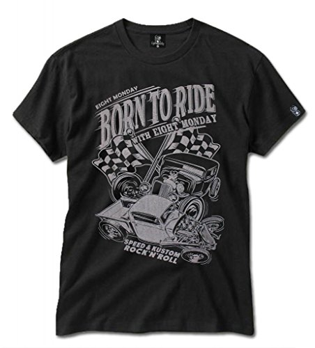 Eight-Monday-Mens-Born-to-Ride-Speed-Kustom-Hot-Rod-666-Race-Flags-T-Shirt