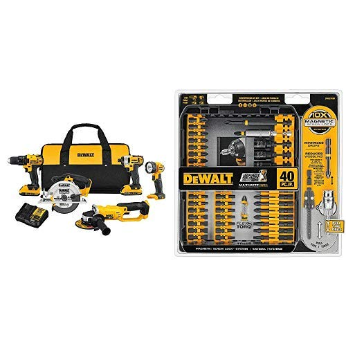 DEWALT DCK521D2 20V MAX Compact 5-Tool Combo Kit with DWA2T40IR IMPACT READY FlexTorq Screw Driving Set, 40-Piece