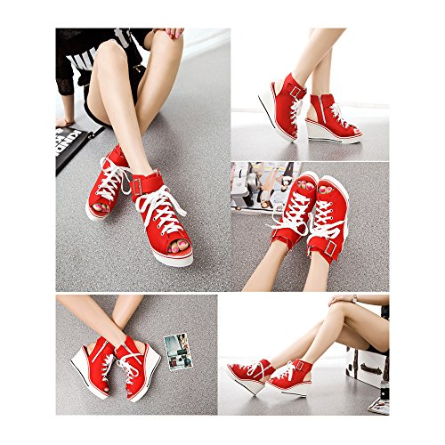 High OCHENTA Fashion Platform Wedge Women's Heeled 4 Shoes Sneaker Canvas Red Pump YEqwZrxq