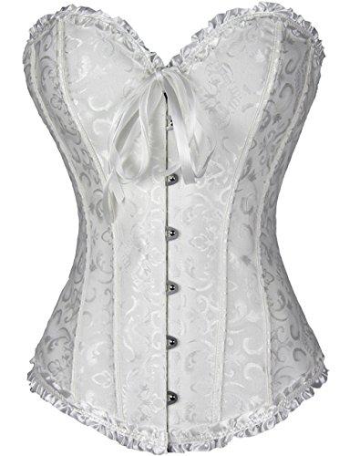 Vangee Women's Lace Up Boned Overbust Corset Bustier Bodyshaper Top Plus Size,White,XXXXX-Large (Bustier Satin Print)