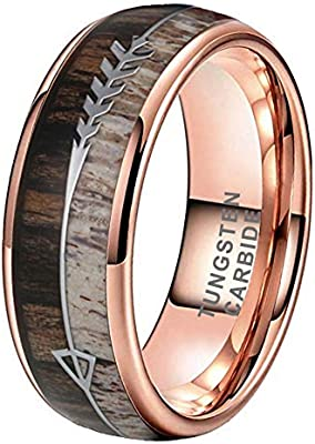 Itungsten 8mm Silver Black Rose Gold Tungsten Rings For Men Women