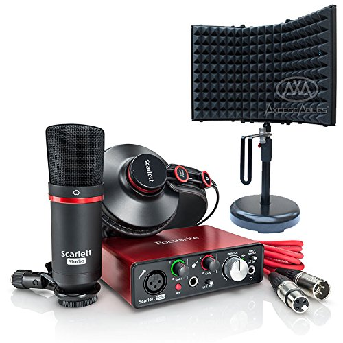 Focusrite Scarlett Solo Compact USB Audio Interface Studio Package - 2nd Generation with Recording Microphone Isolation Shield