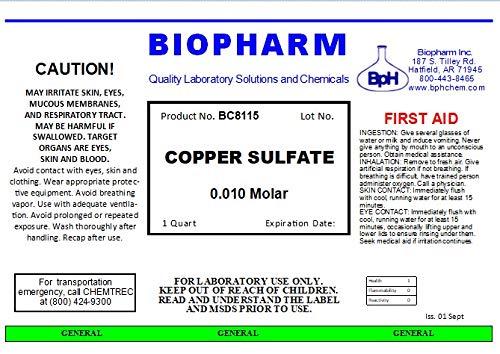 Copper Sulfate 0.010 M Solution; Quart