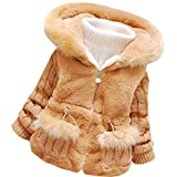 Baby Girls Winter Autumn Cotton Warm Cotton Jacket Coat (US Size 2T, Tag Size 8, Brown)