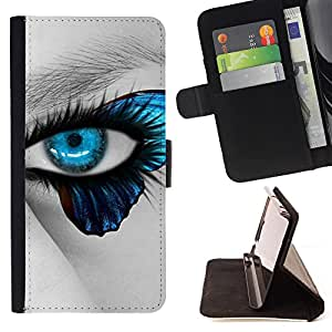 Devil Case- Estilo PU billetera de cuero del soporte del tir¨®n [solapa de cierre] Cubierta FOR Samsung Galaxy S6 Edge G9250 G925F- Butterfly Fly Beautiful Eye