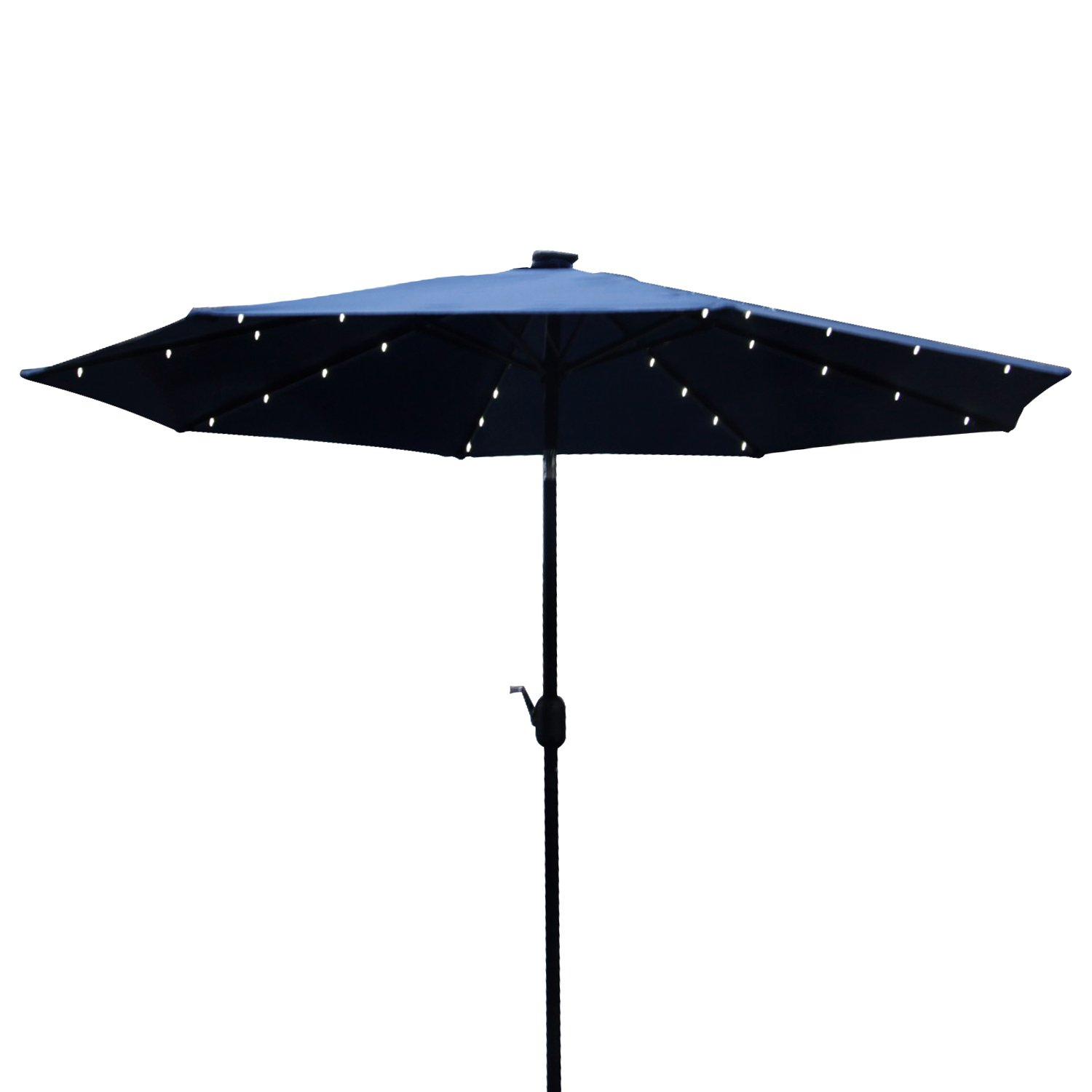 Peach Tree 9FT Outdoor Solar LED Tan Patio Umbrella, Khaki/Burgundy/Blue (Blue)