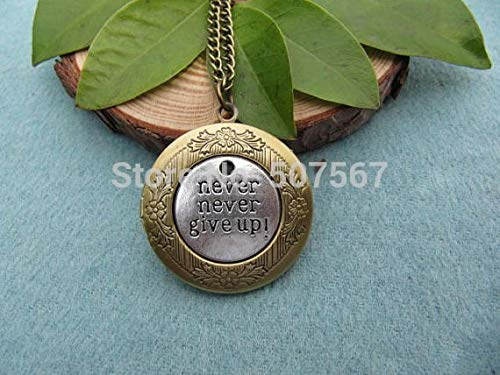 Retro Antique Brass Never Never Give Up Locket Necklace Victorian Jewelry Gift Vintage Style