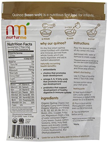 NurturMe Protein Packed Quinoa Organic Infant Cereal, 3.7 Ounce