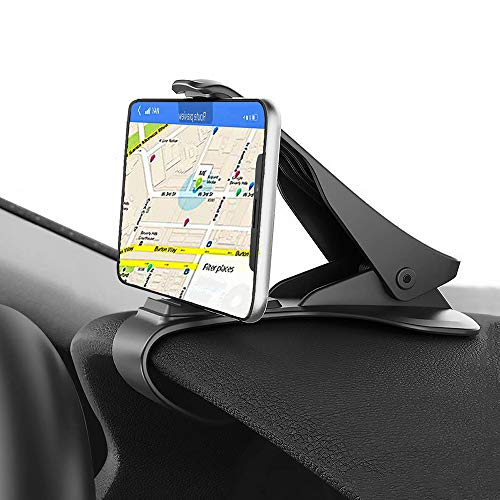Car Phone Mount, ChiChiFit HUD Smart Phone Holder for Car Dashboard Clip Non-Slip Durable Compatible with Phone Xs Max/XR/XS/X/8 Plus/8/7 Plus/7 Samsung Galaxy S10/S9/S8 and More Carbon Fiber Top Clamp Panel