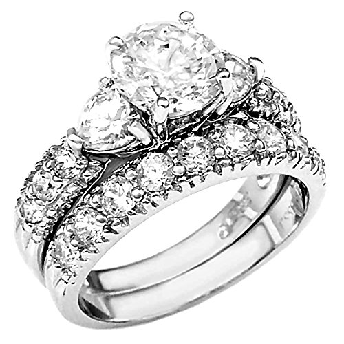 Sterling Silver 4.12ct Ice on Fire CZ & - Fire And Ice Wedding Ring Sets