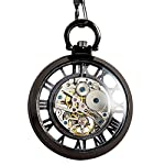 ManChDa Steampunk Mechanical Skeleton Big Size Hand Winding Pocket Watch Open Face Fob for Men 7