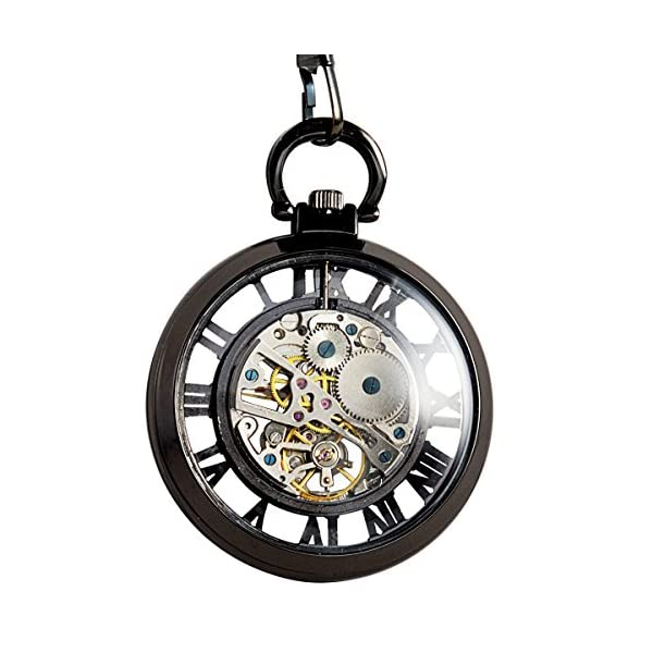 ManChDa Steampunk Mechanical Skeleton Big Size Hand Winding Pocket Watch Open Face Fob for Men 4
